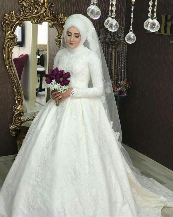 صورة اجمل فساتين اعراس 2019 , اروع موديلات فساتين زفاف للمحجبات
