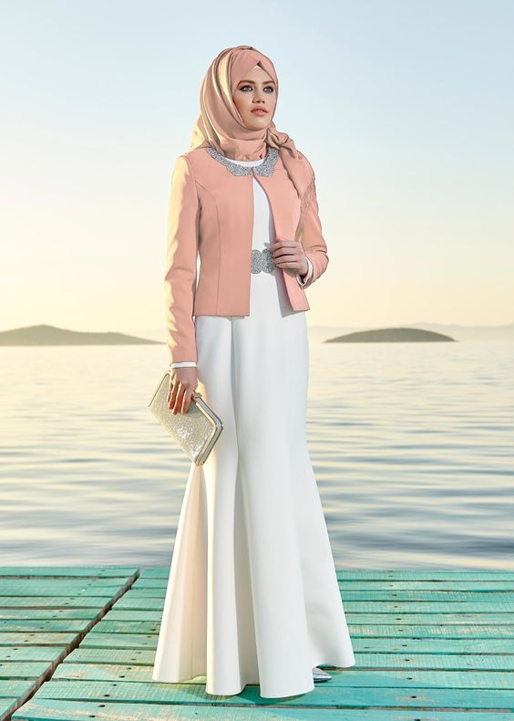 بالصور فساتين السهرة جزائرية 2019 , فستان محجبة راقي جدا 557 4