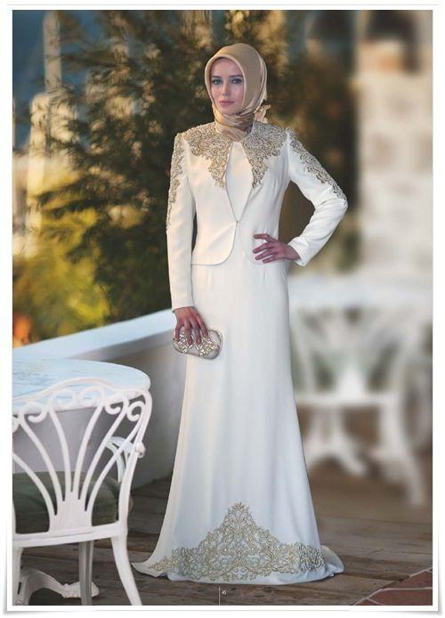 بالصور فساتين السهرة جزائرية 2019 , فستان محجبة راقي جدا 557 5