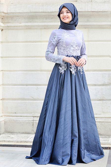 بالصور فساتين السهرة جزائرية 2019 , فستان محجبة راقي جدا 557 6