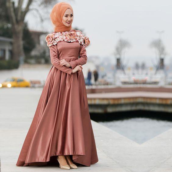 بالصور فساتين السهرة جزائرية 2019 , فستان محجبة راقي جدا 557 9