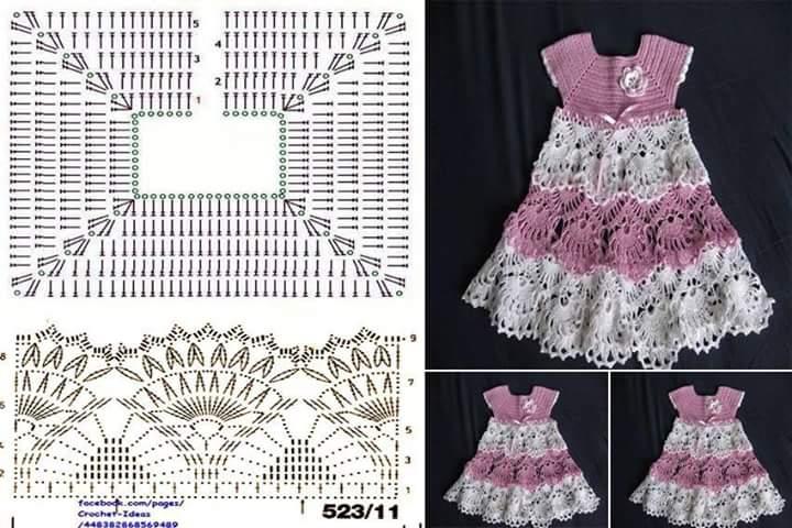 بالصور فساتين بنات بالكروشيه بالباترون , اجمل فستان بنات صغيرة 561 7