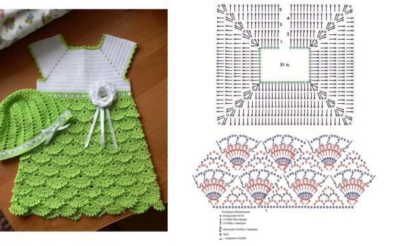 بالصور فساتين بنات بالكروشيه بالباترون , اجمل فستان بنات صغيرة 561 8