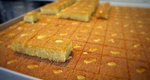 طريقة عمل الحلويات المصرية , اسهل طرق عمل بسبوسة مصرية