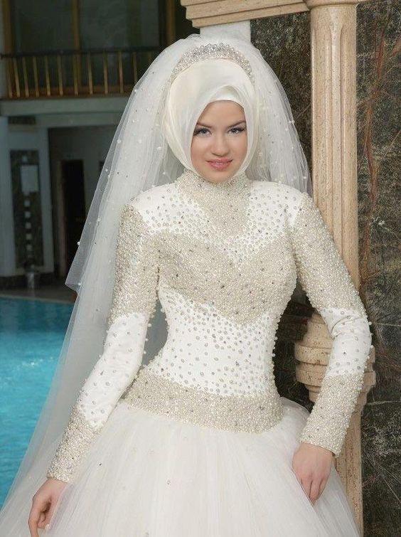 14168ddf6 صور فستان زفاف , اروع موديلات فساتين زفاف محجبات 2019 - افضل جديد
