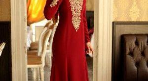 صوره فساتين سهرة احمر , اروع موديلات فستان احمر للمحجبات انيق جدا