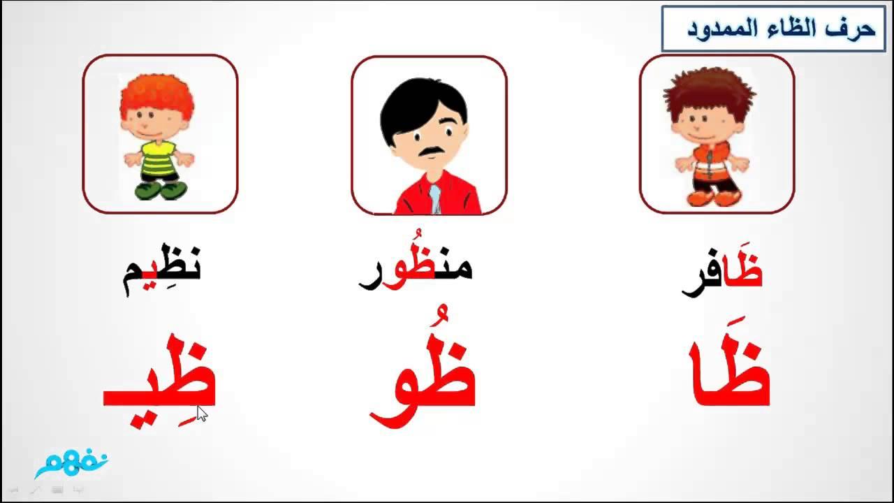 صور اسم بحرف ظ , تعليم الحروف بالكلام